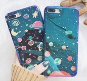 phone cover,holographic,space,planets,alien,iphone case,i phone case,blue,purple,metallic