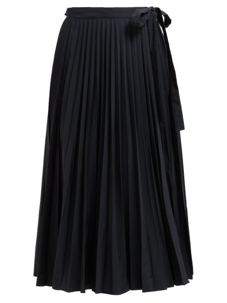 Valentino - Pleated Cotton Blend Wrap Skirt - Womens - Black