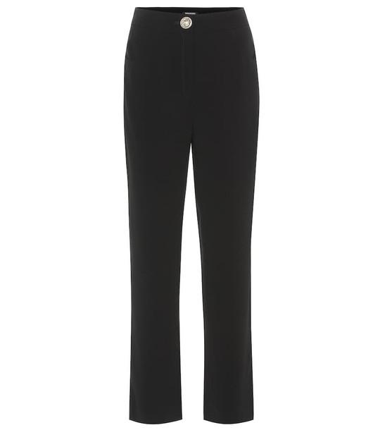 Balmain High-rise crêpe straight pants in black