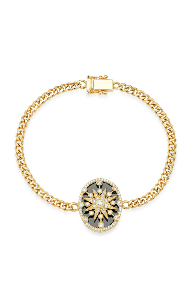 Colette Jewelry Star Cage 18K Yellow-Gold, Onyx, and Diamond Bracelet in black