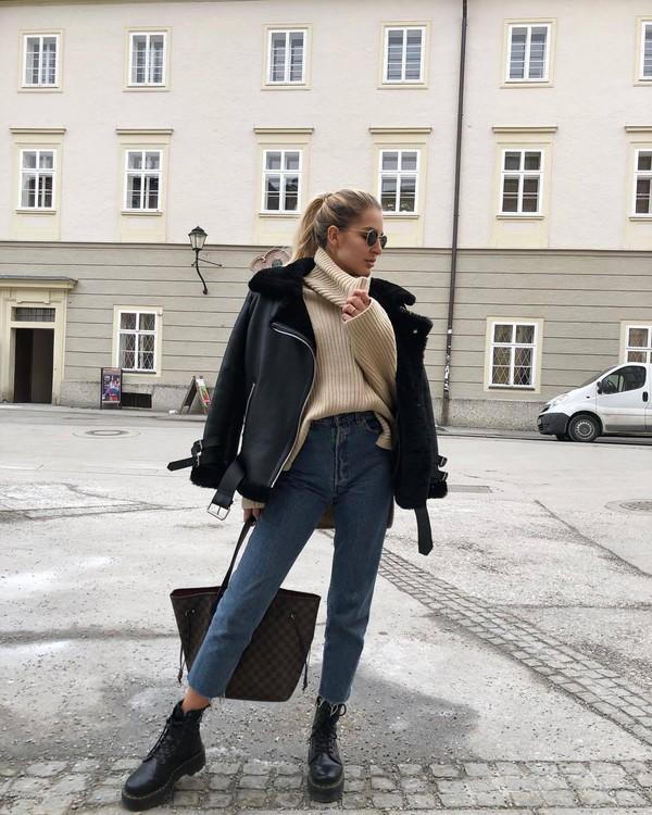 jacket shearling jacket black jacket aviator jacket black boots DrMartens cropped jeans high waisted jeans levi's turtleneck sweater h&m shoulder bag