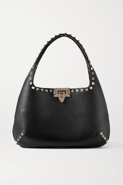 VALENTINO - Valentino Garavani Rockstud Small Textured-leather Tote - Black