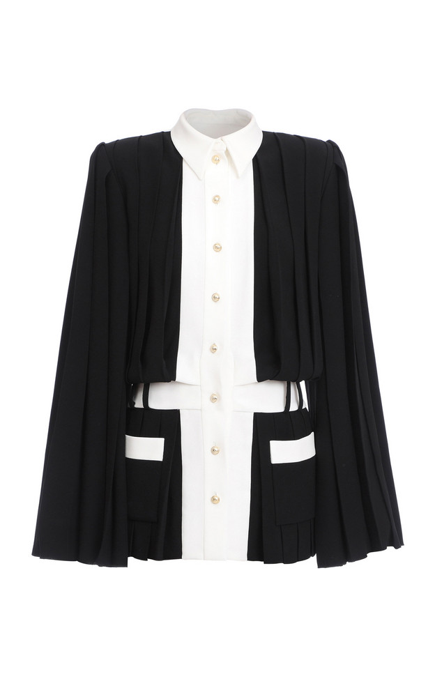 Balmain Two-Tone Pleated Shirtdress in black
