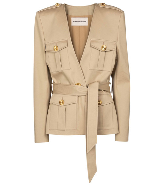 Alexandre Vauthier Belted cotton-blend jacket in beige