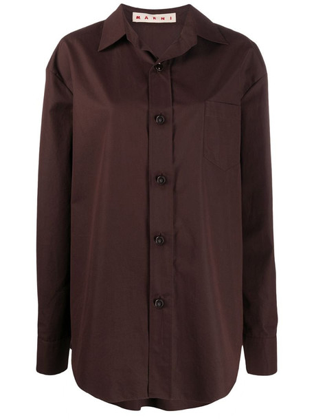 Marni oversized buttoned shirt in brown