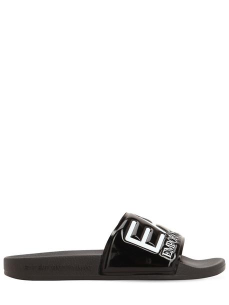 EA7 EMPORIO ARMANI Logo Embossed Slide Sandals in black / white