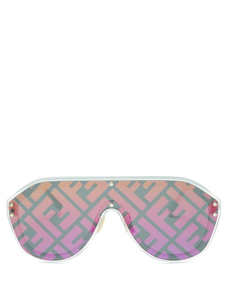 Fendi - Ff Aviator Metal Sunglasses - Womens - Silver Multi