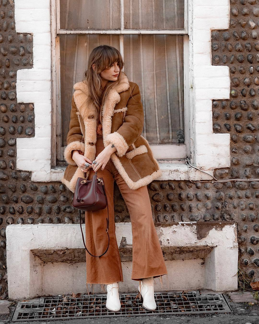 pants wide-leg pants white boots crossbody bag aviator jacket brown jacket knitted sweater