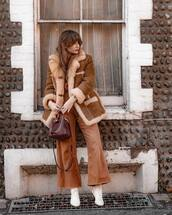 pants,wide-leg pants,white boots,crossbody bag,aviator jacket,brown jacket,knitted sweater