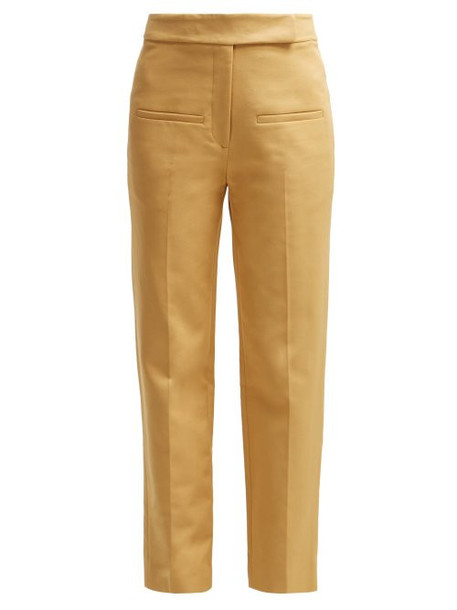 Khaite - Coco Cropped Cotton Twill Trousers - Womens - Beige