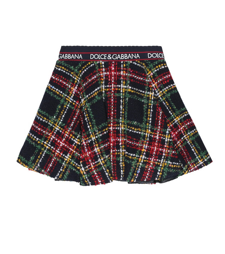Dolce & Gabbana Kids Checked tweed skirt in black