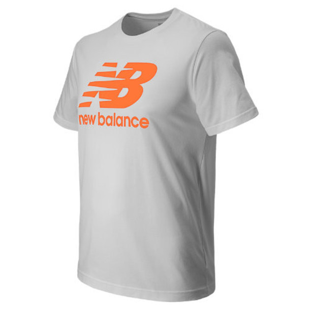 New Balance 4374 Men's Large Logo Tee - White, Dynamite (MET4374DYT)