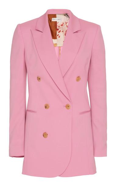 Oscar de la Renta Double-Breasted Stretch-Wool Blazer in pink