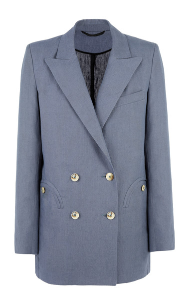 Blazé Milano Midday-Sun Everyday Double-Breasted Linen Blazer Size: 00 in blue