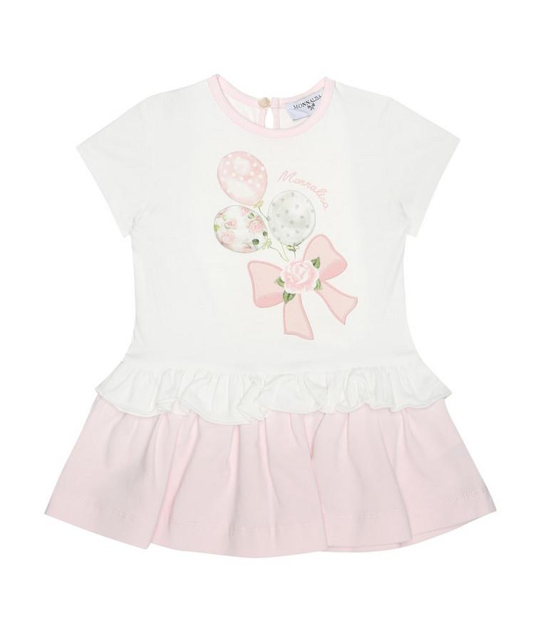 Monnalisa Baby stretch-cotton dress in white