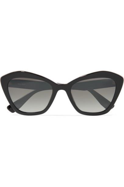 Miu Miu - Cat-eye Acetate Sunglasses - Black