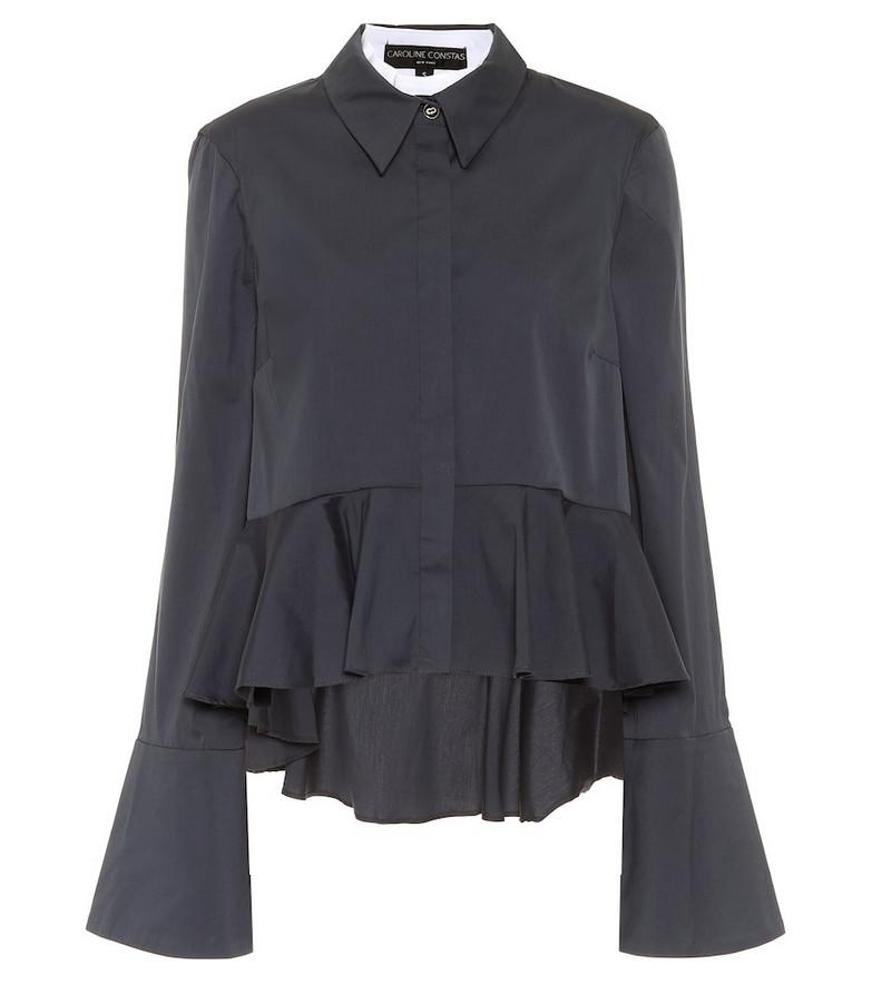 Caroline Constas Leslie cotton-blend poplin shirt in blue
