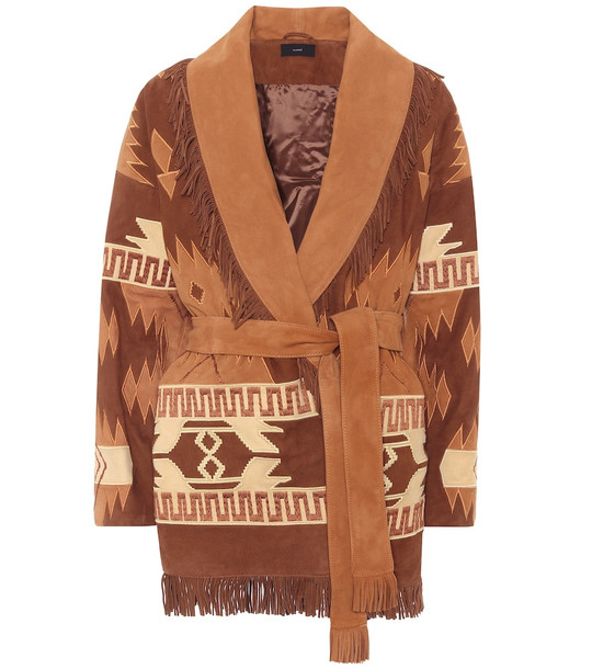 Alanui Icon embroidered suede cardigan in brown