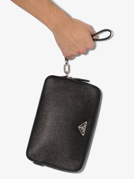 Prada black saffiano leather pouch