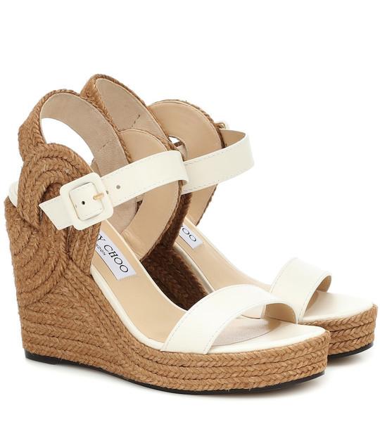 Jimmy Choo Delphi 100 espadrille wedge sandals in white