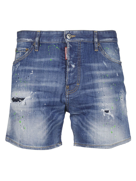 Dsquared2 Paint Splatter Effect Shorts in blue