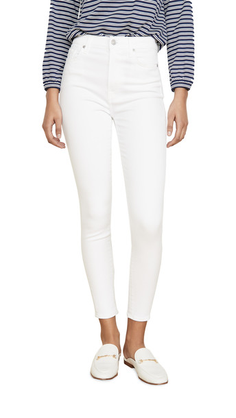 7 For All Mankind High Waist Ankle Skinny Jeans in white