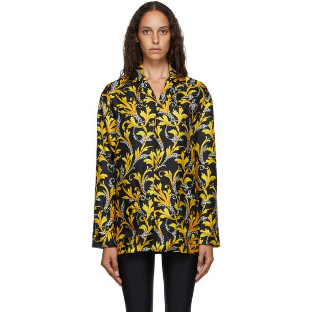 Versace Underwear Black and Gold Barocco Silk Shirt in nero