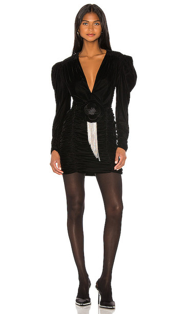 MARIANNA SENCHINA Velvet Mini Dress in Black