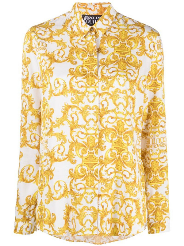 Versace Jeans Couture baroque print shirt in yellow