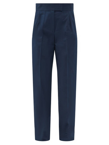 A.P.C. A.P.C. - Ann High-rise Cotton-canvas Trousers - Womens - Navy