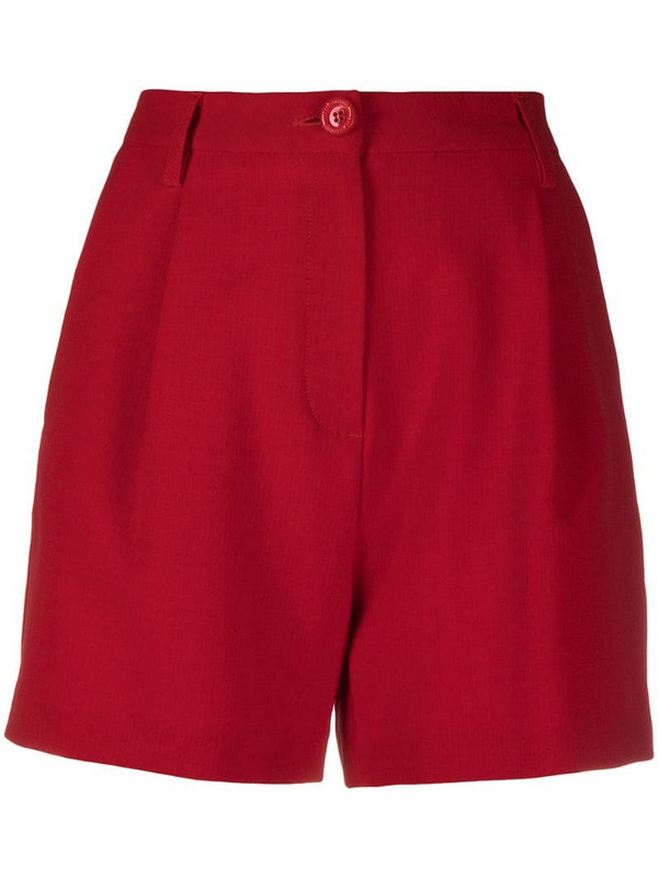 Love Moschino logo print high waisted shorts in red