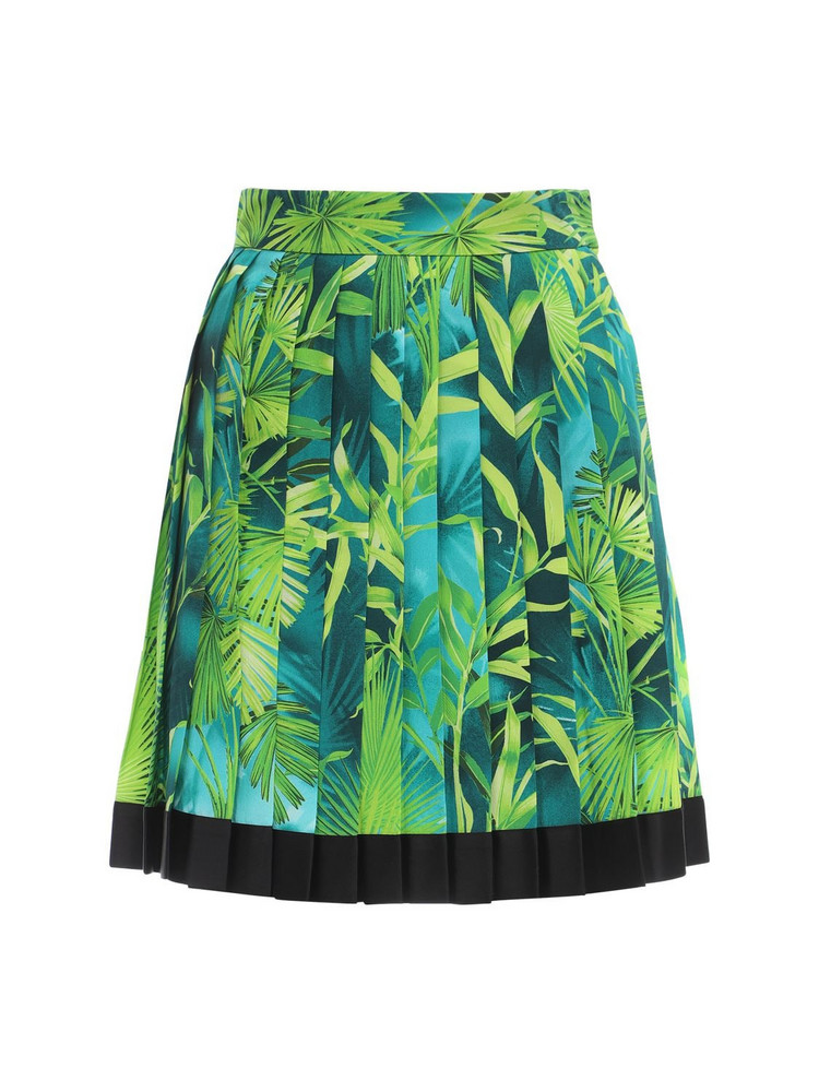VERSACE Pleated Jungle Print Twill Mini Skirt in green / multi