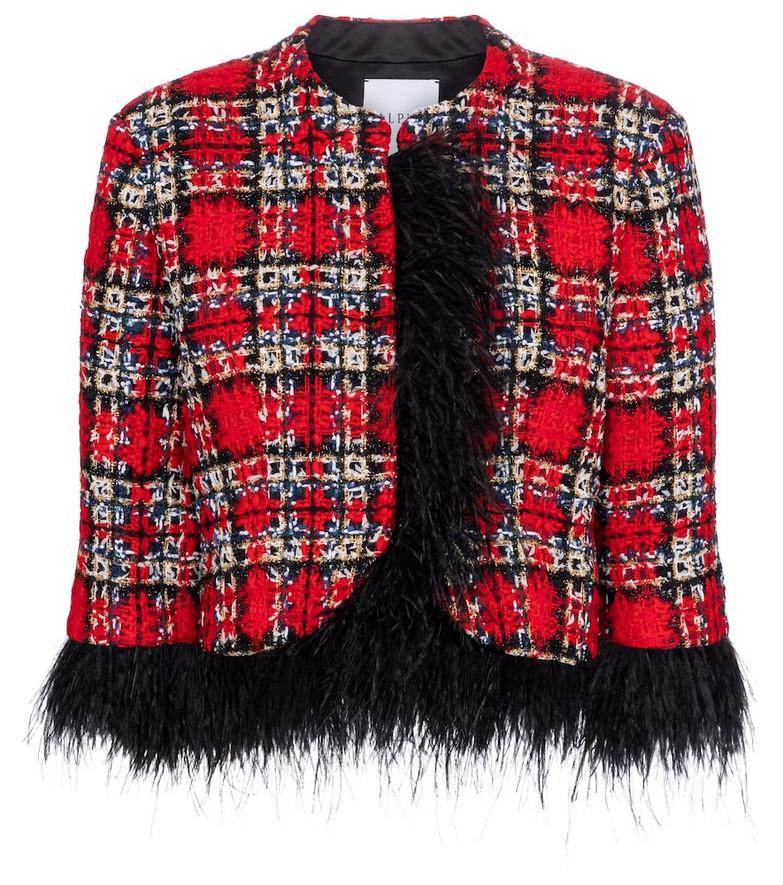 Halpern Feather-trimmed tartan jacket in red