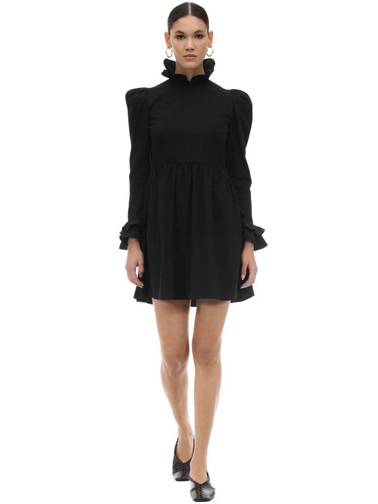 BATSHEVA Ruffled Cotton Poplin Mini Dress in black