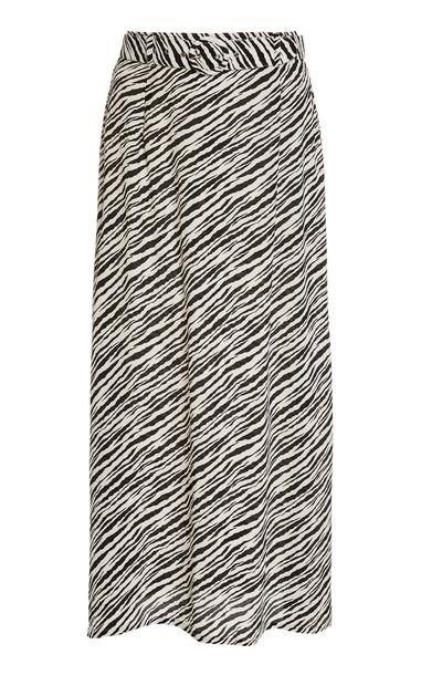 Faithfull The Brand Librisa Zebra Print Linen Midi Skirt in black