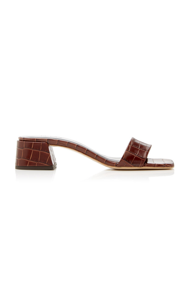 by FAR Courtney Croc-Effect Leather Sandals in brown