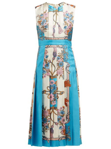 Gucci - Pleated Intrigue Print Silk Midi Dress - Womens - Blue Multi