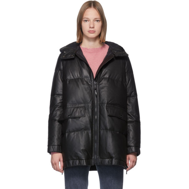 Yves Salomon - Army Black Down Leather Doudoune Jacket