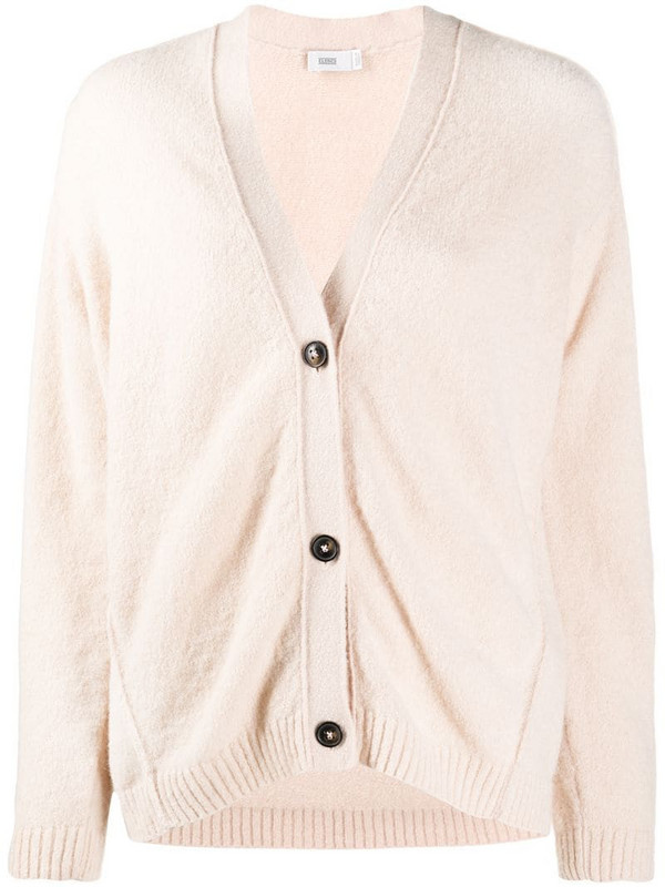 Closed button-up knitted cardigan in pink