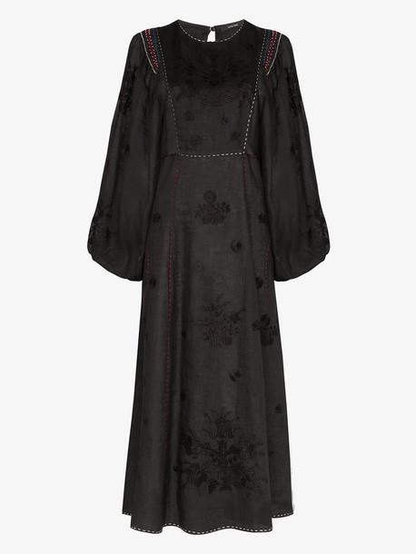 Vita Kin happy flower embroidered dress in black