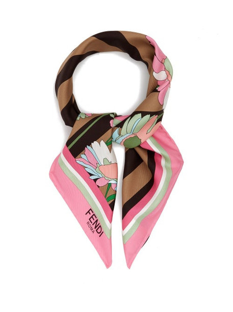 Fendi - Floral-print Silk Scarf - Womens - Pink