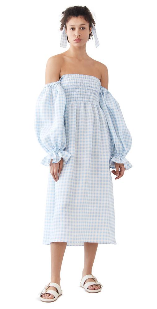 Sleeper Atlanta Linen Dress in blue / white