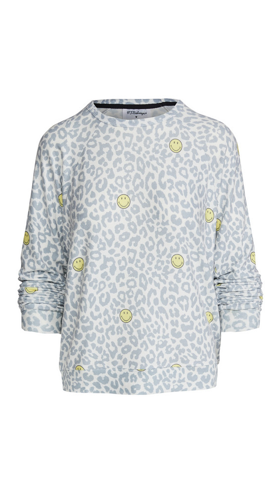 PJ Salvage Smiley Leopard Pullover in ivory
