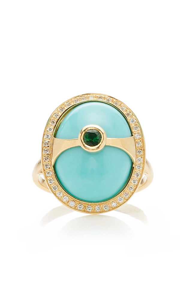 Yi Collection Eos 18K Gold And Multi-Stone Ring Size: 6 in blue