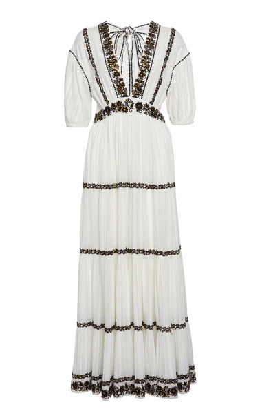 Ulla Johnson Alma Tiered Peasant Cotton Maxi Dress in white
