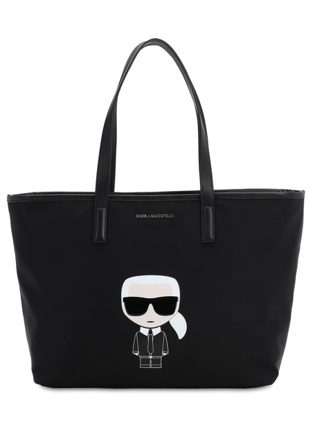 KARL LAGERFELD K/ikonik Karl Tote Bag W/leather in black