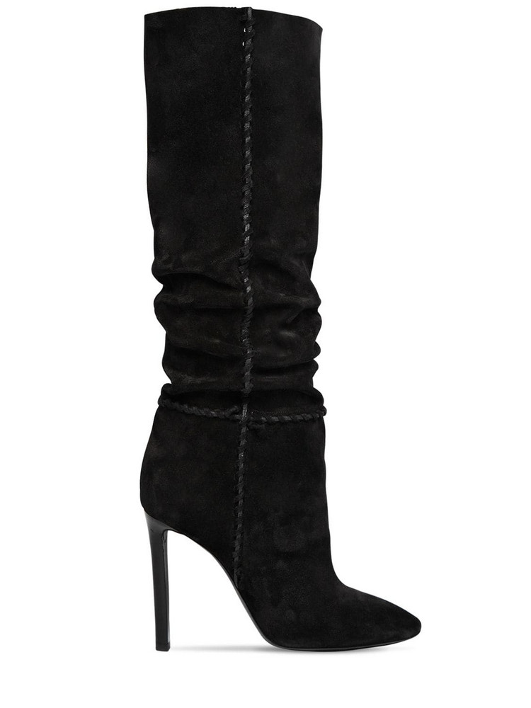 SAINT LAURENT 105mm Mica Suede Slouchy Boots in black