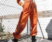 pants,orange,joggers,sweatpants,black,basic