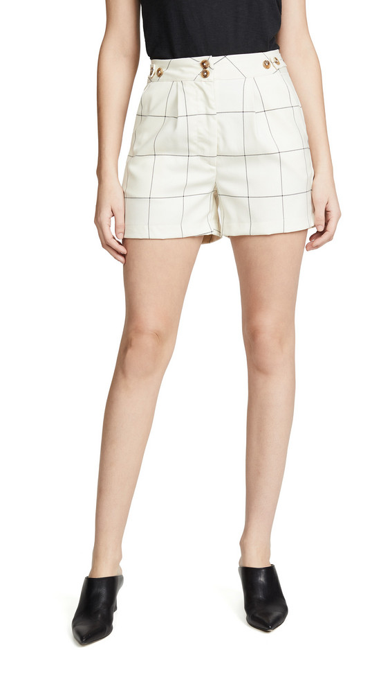 ei8htdreams Sydney Checked Trouser Shorts in ivory