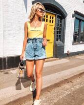 shorts,denim shorts,High waisted shorts,topshop,sneakers,bag,tank top